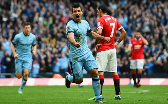 Manchester City v Manchester United - Premier League...MANCHESTER, ENGLAND - NOVEMBER 02: Sergio Aguero of Manchester City celebrates scoring the opening goal during the Barclays Premier League match between Manchester City and Manchester United at Etihad Stadium on November 2, 2014 in Manchester, England. (Photo by Shaun Botterill/Getty Images)
