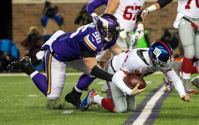Image result for vikings defense vs. giants