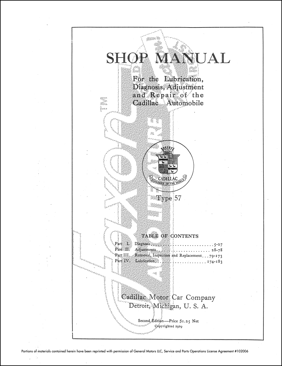 1918-1919 Cadillac Repair Shop Manual Reprint