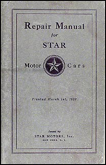 1922-1925 Star Repair Shop Manual Original