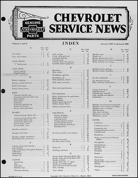 1928 Chevrolet Service News Manual 28 Chevy Shop Manual