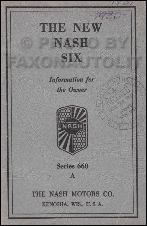 1931 Nash Series 660 A Owner's Manual Original