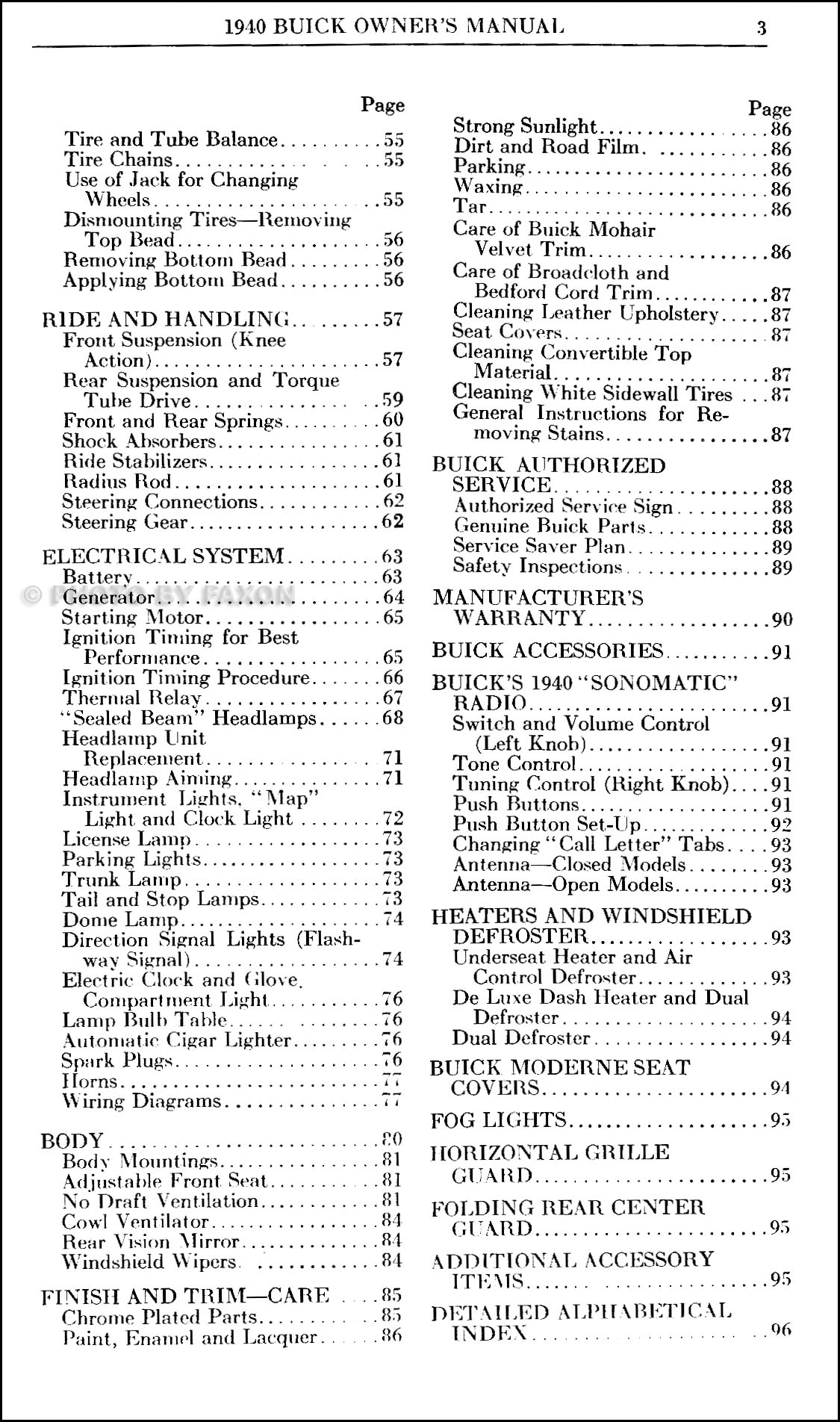 1940 Buick Owners Manual Reprint
