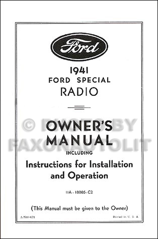1941 Ford Radio Reprint Owner's Manual with Installation