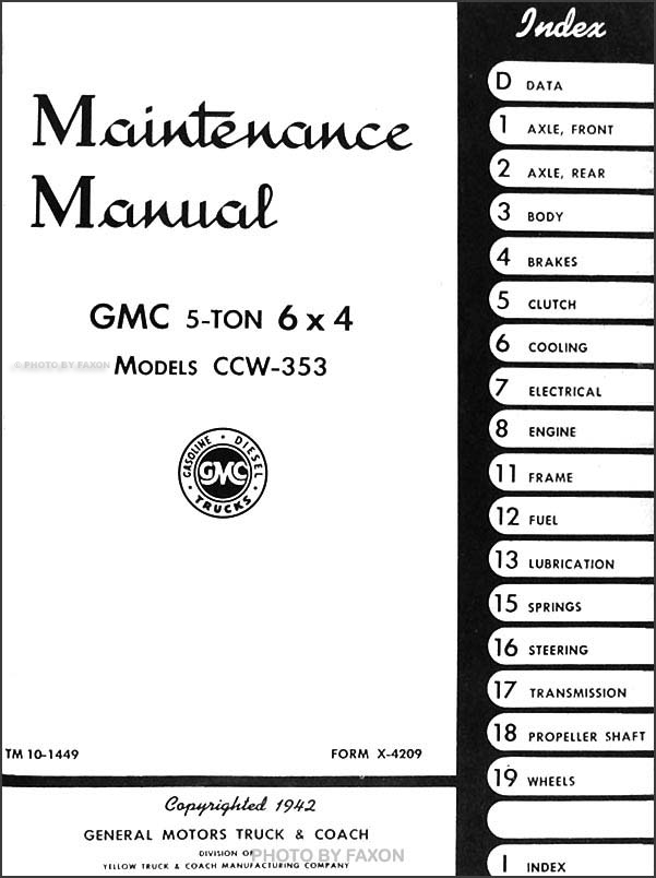 1942-1945 GMC CCW-353 6x4 Military Repair Shop Manual