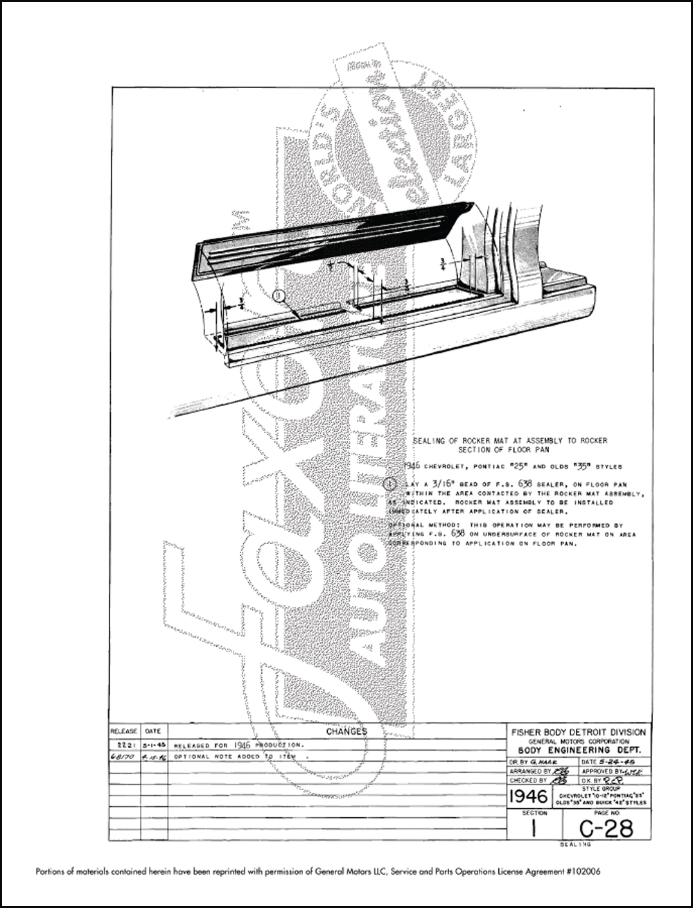 1946-1948 Fisher Body Noise/Leak Prevention Assembly
