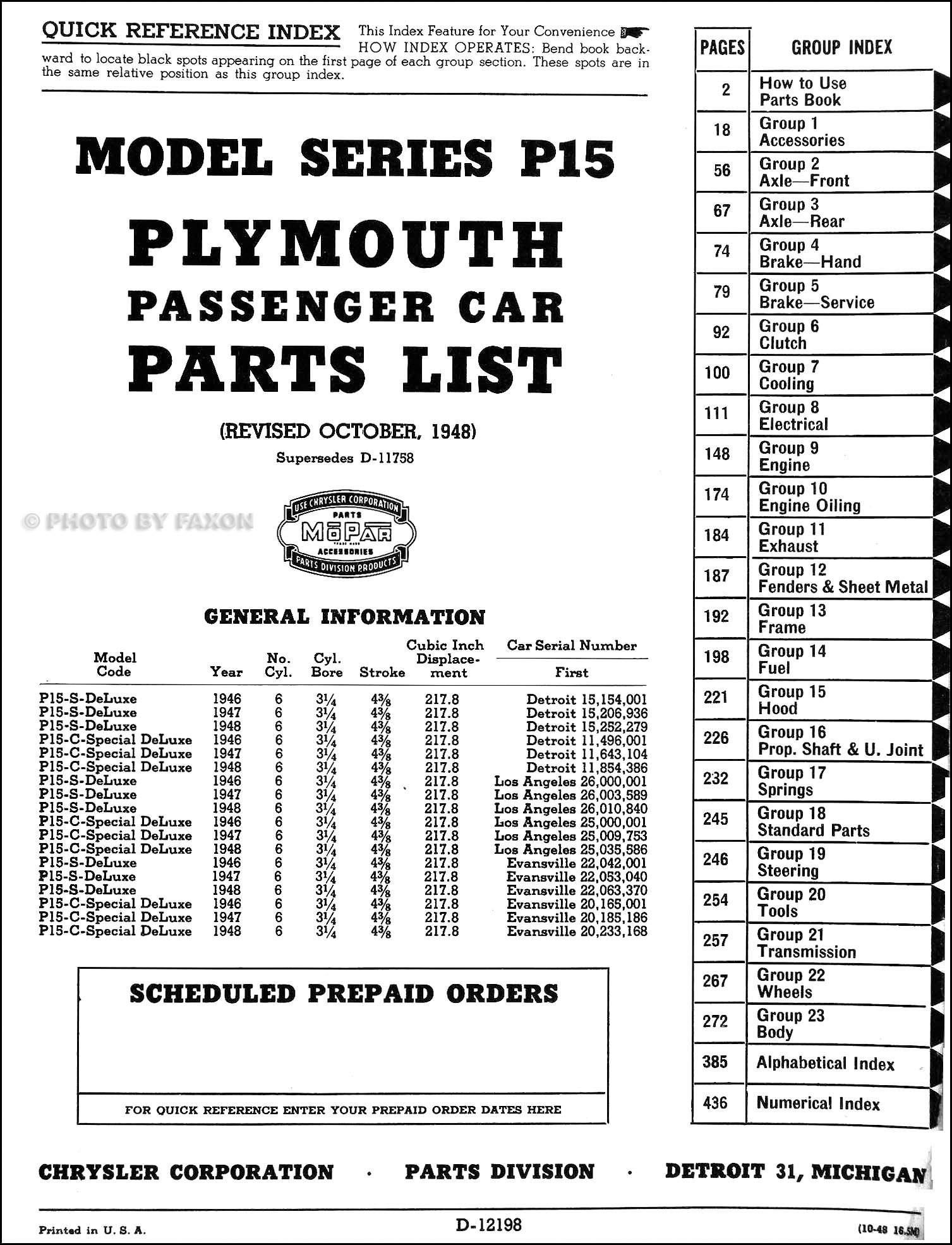 1946-1948 Plymouth Parts Book Original