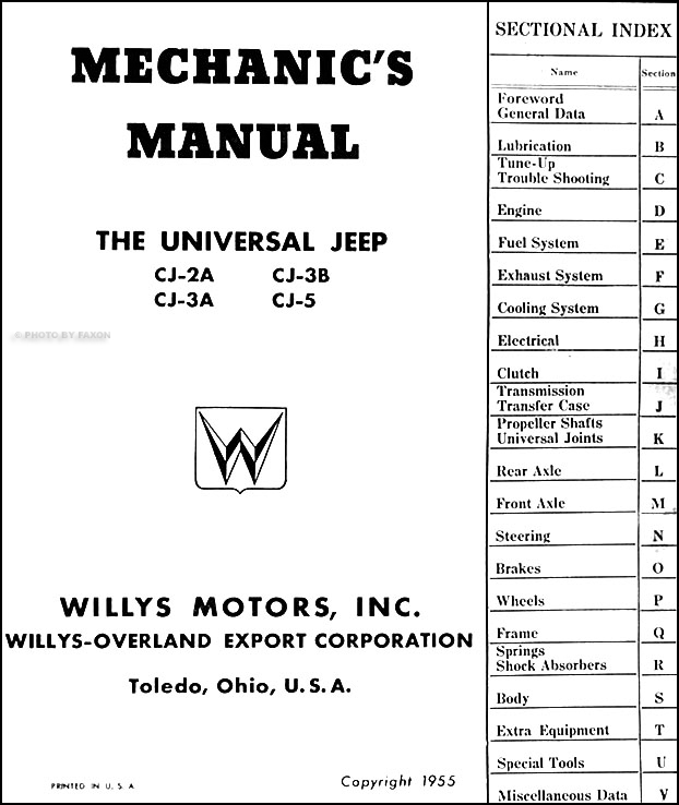 1946-1955 Willys Jeep CJ Repair Shop Manual Original CJ-2A