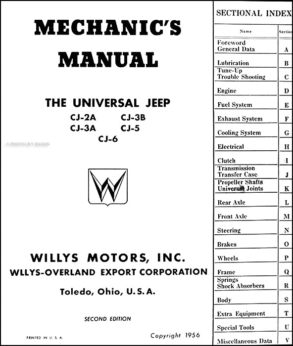 1946-1956 Willys CJ Jeep Repair Shop Manual Original CJ-2A
