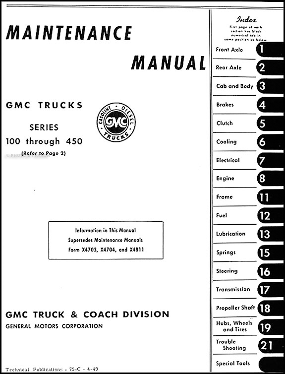1949-1950 GMC 100-450 Repair Shop Manual Original