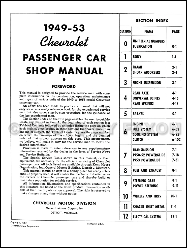 1949-1954 Chevrolet Car Repair Shop Manual Original