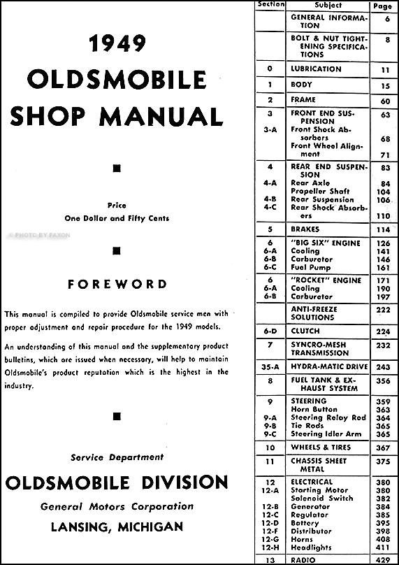 1949 Oldsmobile CD-ROM Repair Shop Manual