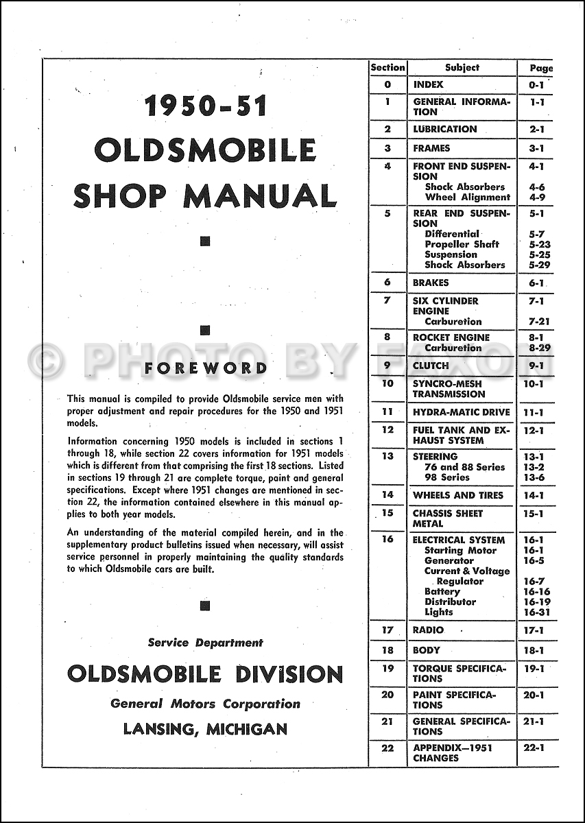 1950-1951 Oldsmobile Repair Shop Manual Original