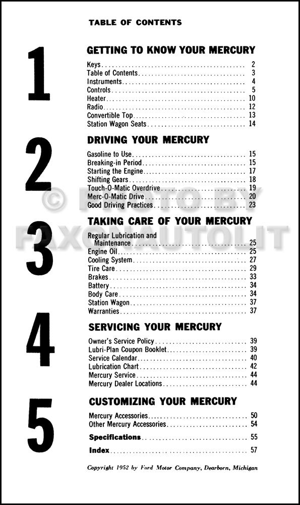 1953 Mercury Owner's Manual Reprint