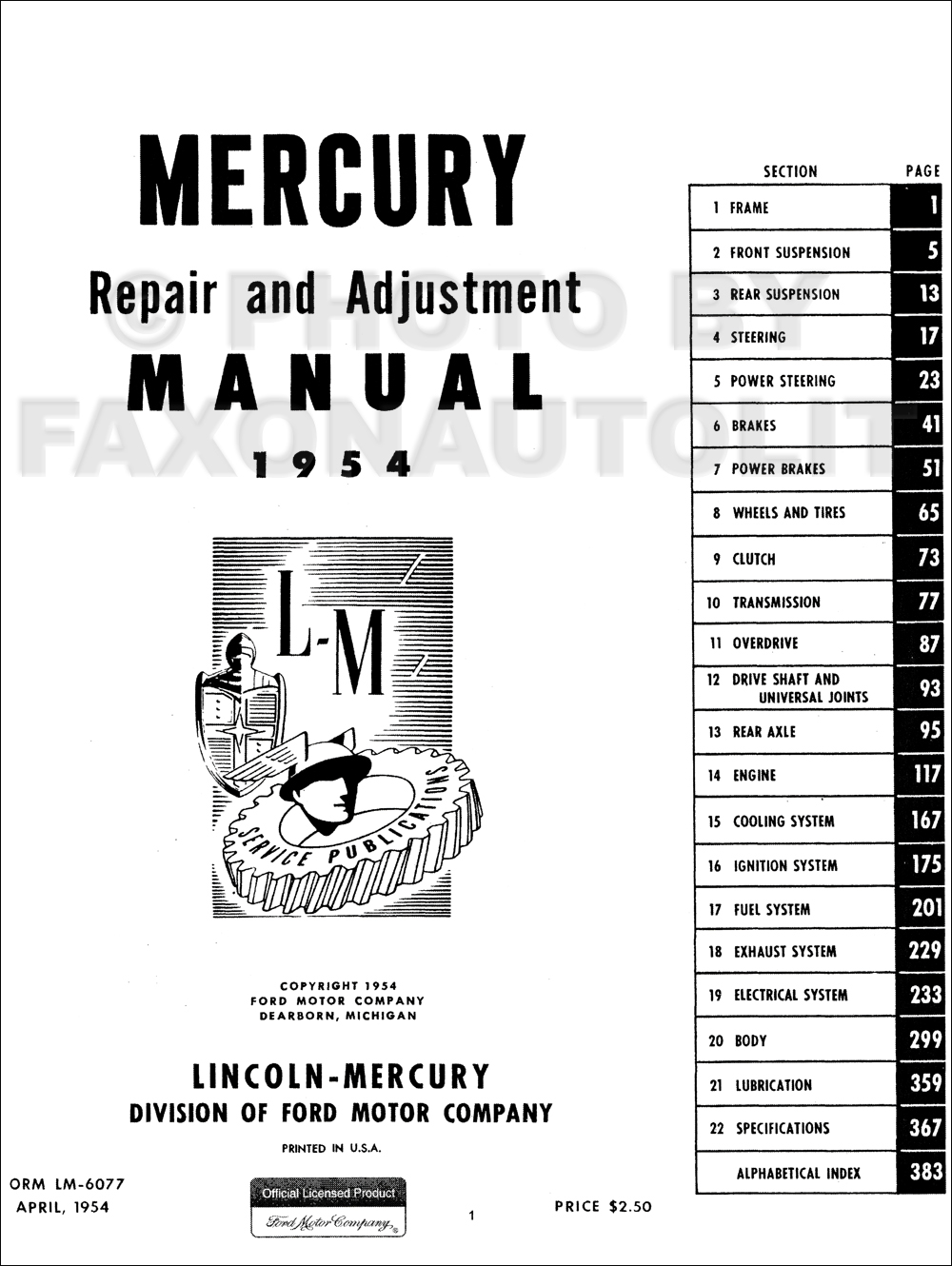 1954-1955 Mercury Shop Repair Manual Reprint Monterey