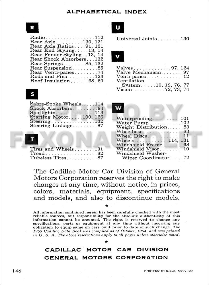 1955 Cadillac Data Book Deville Eldorado Series 62 60
