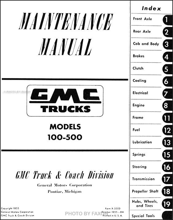 1955 GMC 100-500 Repair Shop Manual Original