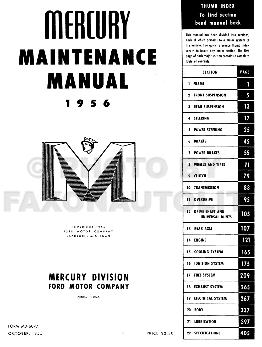 1956 Mercury Repair Shop Manual Original