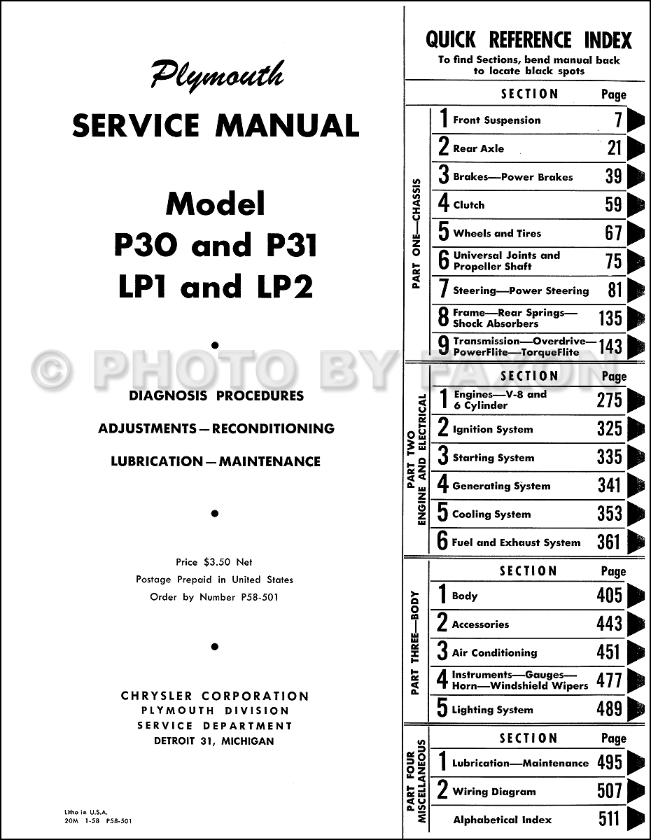 1957-1959 Plymouth Repair Shop Manual Reprint