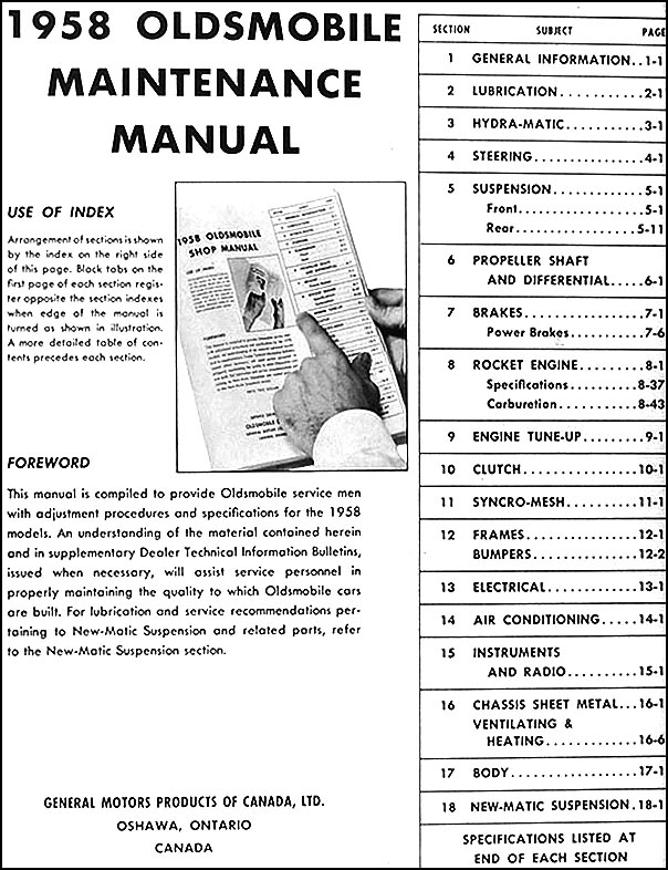 1958 Oldsmobile CANADIAN Repair Shop Manual Original