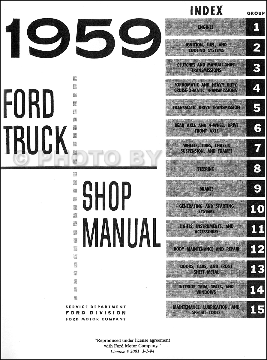 1959 Ford Pickup & Truck Repair Shop Manual Reprint