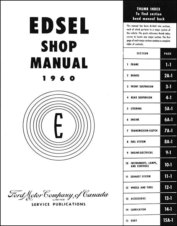 1960 Edsel Canadian Repair Shop Manual Original
