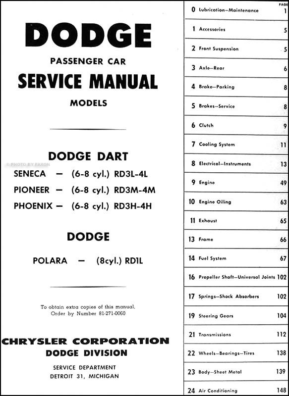 1961 Dodge Car Repair Shop Manual Original