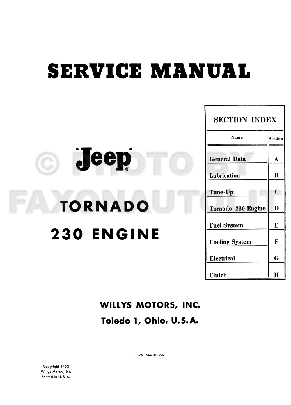 1962-1965 Jeep Tornado 230 Engine Repair Shop Manual Original