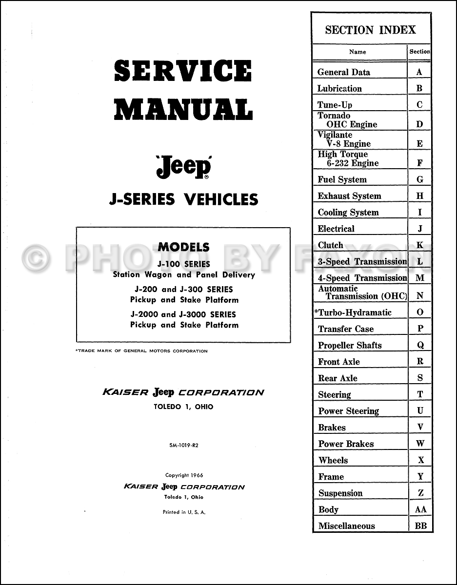 1962-1968 Jeep Gladiator & Wagoneer Repair Shop Manual Reprint