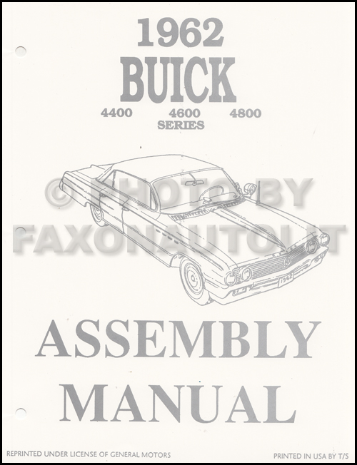 1962 Buick Factory Assembly Manual 62 Electra LeSabre