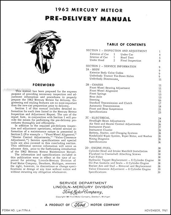 1962 Mercury Meteor Maintenance & Lubrication Manual Original