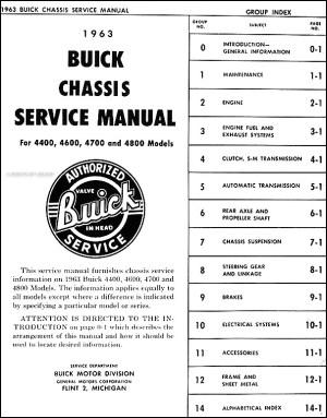 1963 Buick Repair Shop Manual Original  Riviera, LeSabre, Invicta, Electra