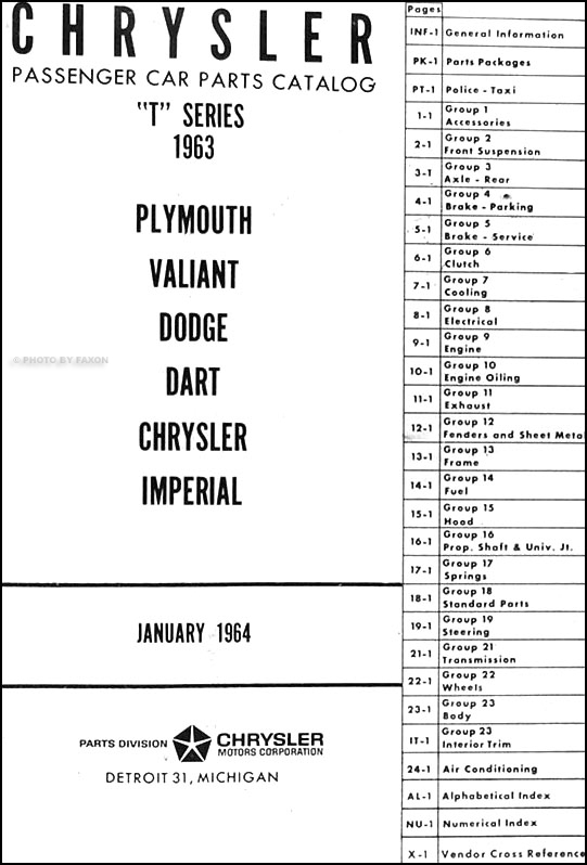 1963 Chrysler 300J Repair Shop Manual Reprint Supplement