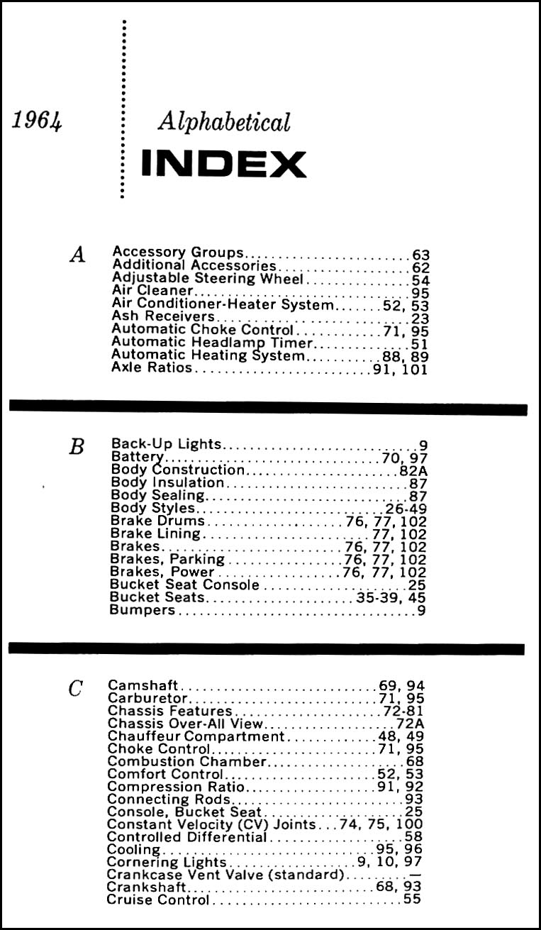 1964 Cadillac Data Book Original