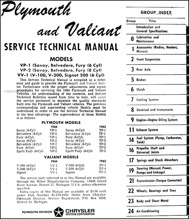1964 Plymouth & Valiant Repair Shop Manual Original--All