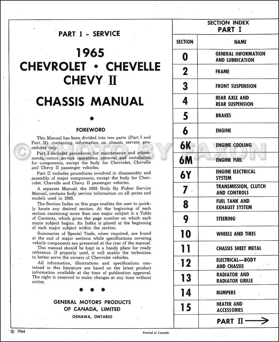 1965 Chevy Repair Shop Manual Original CANADIAN Impala