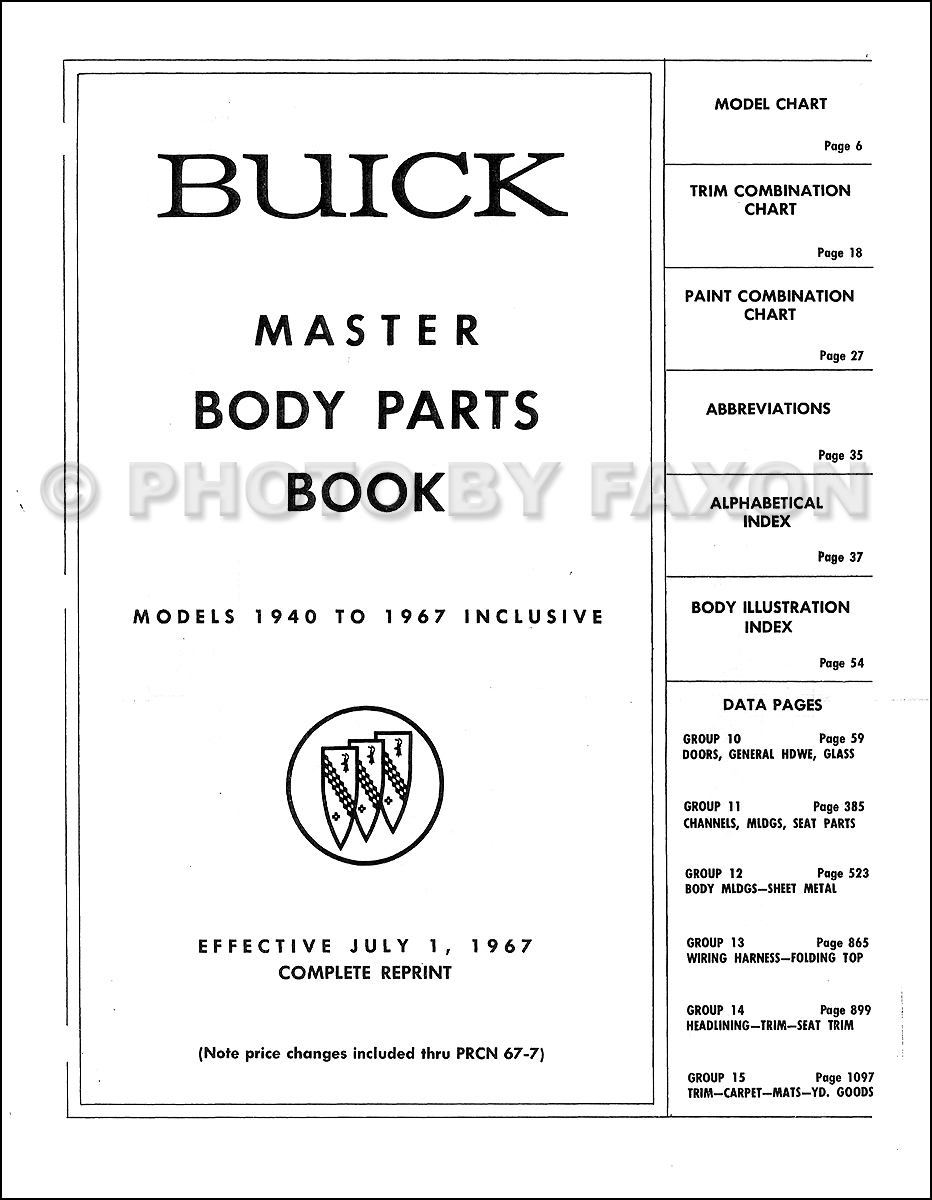 1961-1967 Buick Body Parts Book Reprint