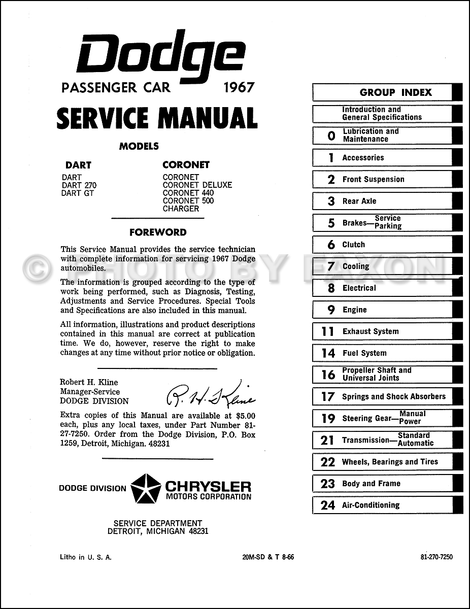 1967 Dodge Charger, Coronet, & Dart Repair Shop Manual Reprint