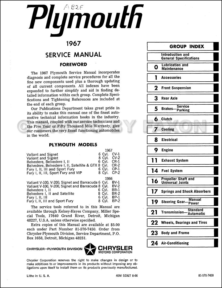 1967 Plymouth Repair Shop Manual Reprint 2 Vol Set