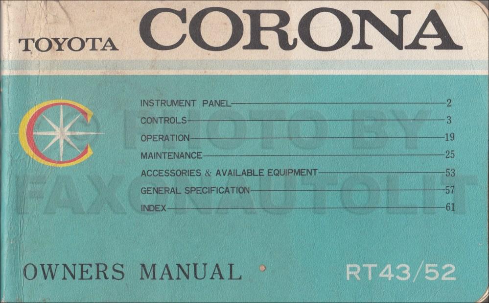 medium resolution of 1968 toyota corona owner s manual original