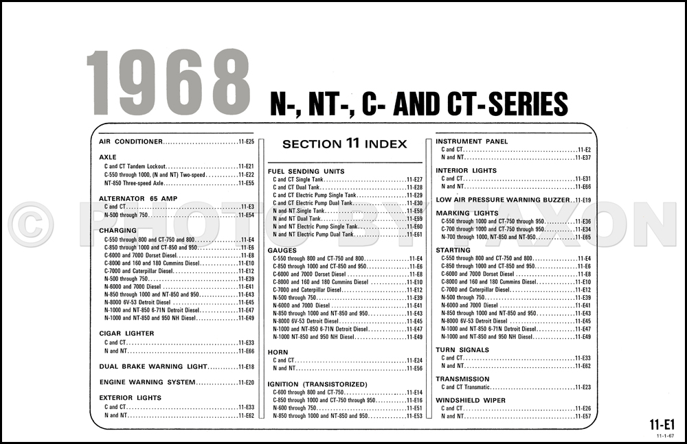 1968 Ford N, NT, C and CT-Series Big Truck Wiring Diagram
