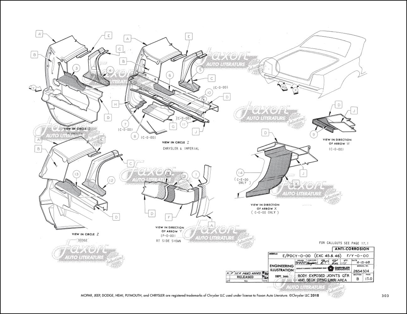 1969-1970 Dodge Plymouth Body Assembly Manual Polara