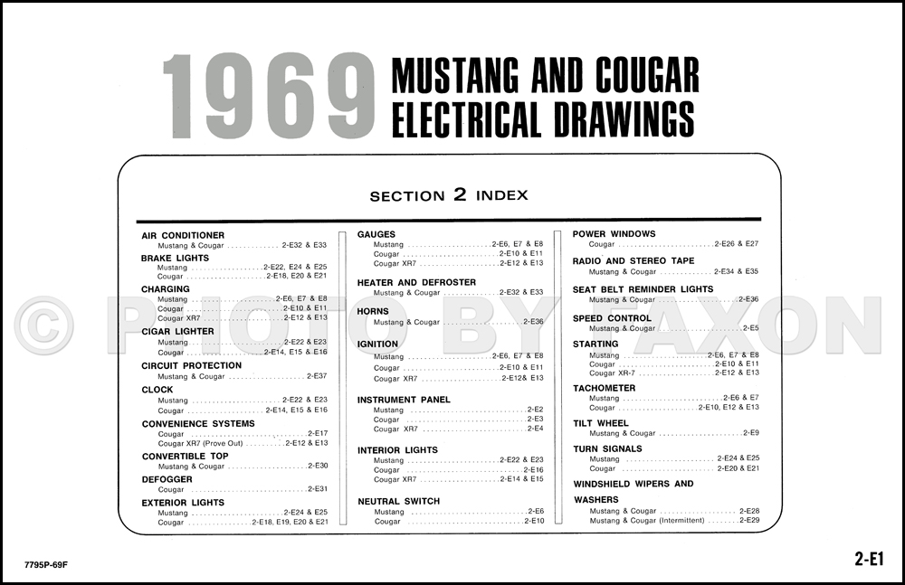 1969 Ford Mustang and Mercury Cougar Wiring Diagram Original