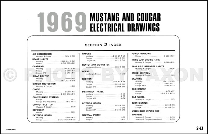 1969 mustang electrical wiring diagram 2001 chevy cavalier
