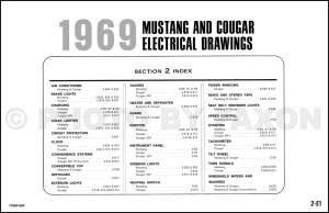 1969 Ford Mustang Mercury Cougar ORIGINAL Wiring Diagram