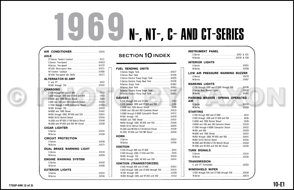 1969 Ford N, NT, C and CT-Series Truck Wiring Diagram