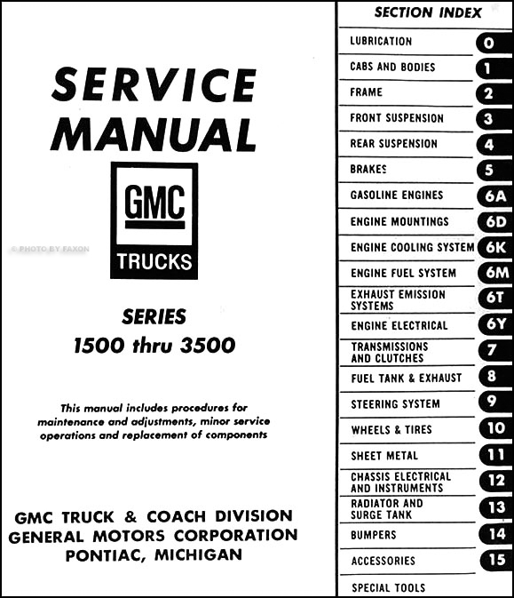 1969-1970 GMC Shop Manual Pickup Truck Jimmy Suburban 1500