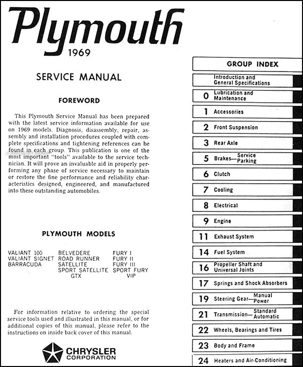 1969 Plymouth Repair Shop Manual Original--All Models