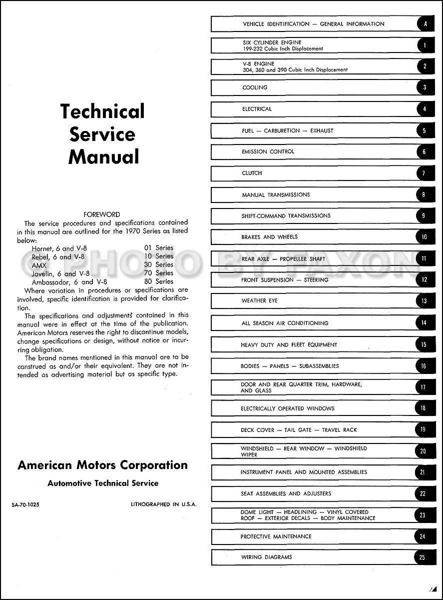 1970 AMC Repair Shop Manual Original: AMX, Javelin, Rebel