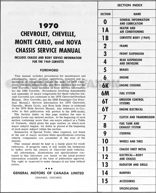 1970 Chevy Car Repair Shop Manual Original CANADIAN